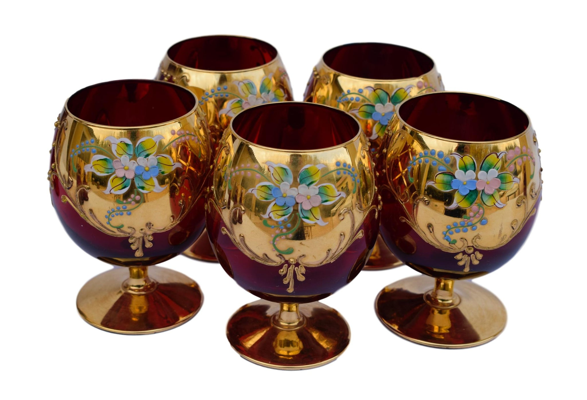 Vintage Murano Gold & Ruby Venetian Glass Brandy and Liquor Goblets Decanter Set - Hand Painted Enameled Flowers Red and Gold Glass