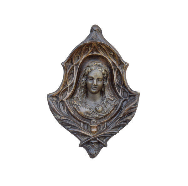 French Antique Religious Virgin Mary Wall Medallion - 19th.C Mary Sacred Heart Wall Reliquary - Gothic Handmade Catholic Frame