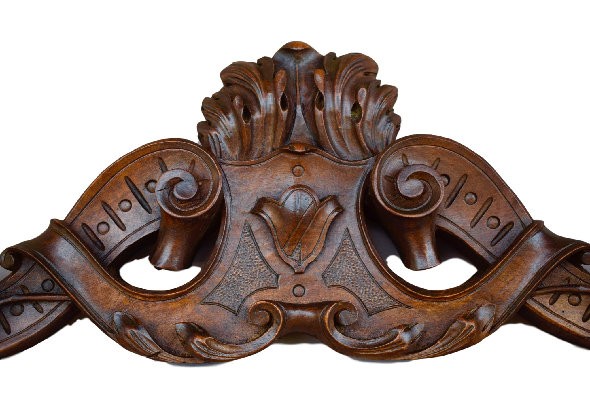 French Antique 19th.c Hand Carved Walnut Wood Pediment Cornice - French Architectural Salvaged Wood Furniture - Above Door Decor