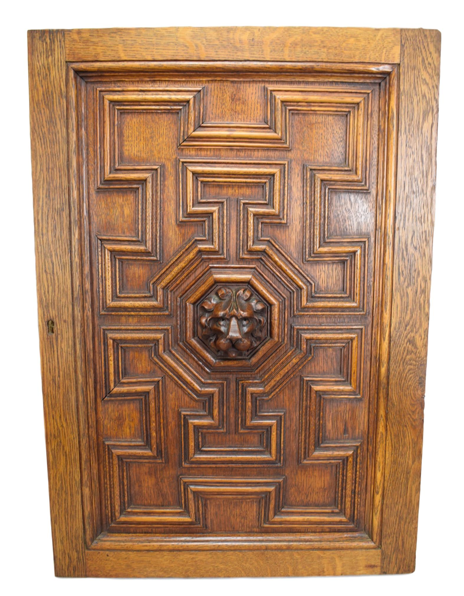 French Architectural Gothic Hand Carved Lion Oak Wood Door Wall Panel 2 Right - Old Wall Panel 19th.C - Lion Cabin Door