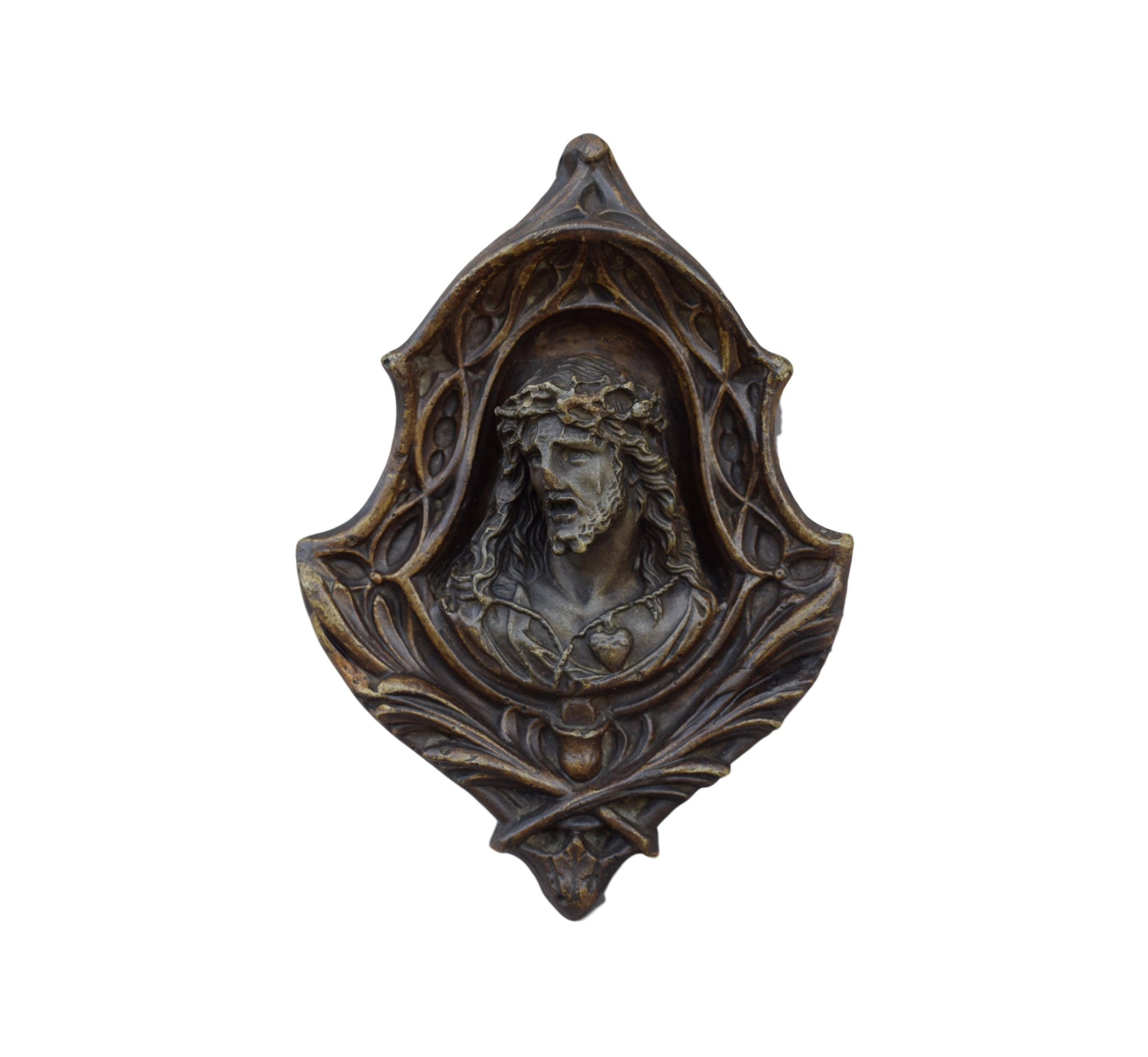 French Antique Religious Jesus Christ Wall Medallion - 19th.C Jesus Sacred Heart Wall Reliquary - Gothic Handmade Catholic Frame