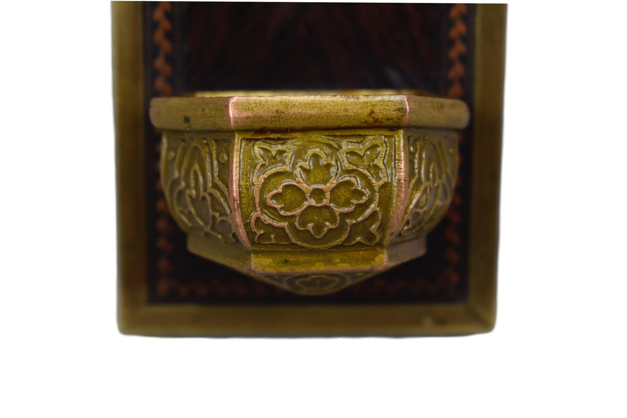 Wood Marquetry Holy Water Font - Charmantiques
