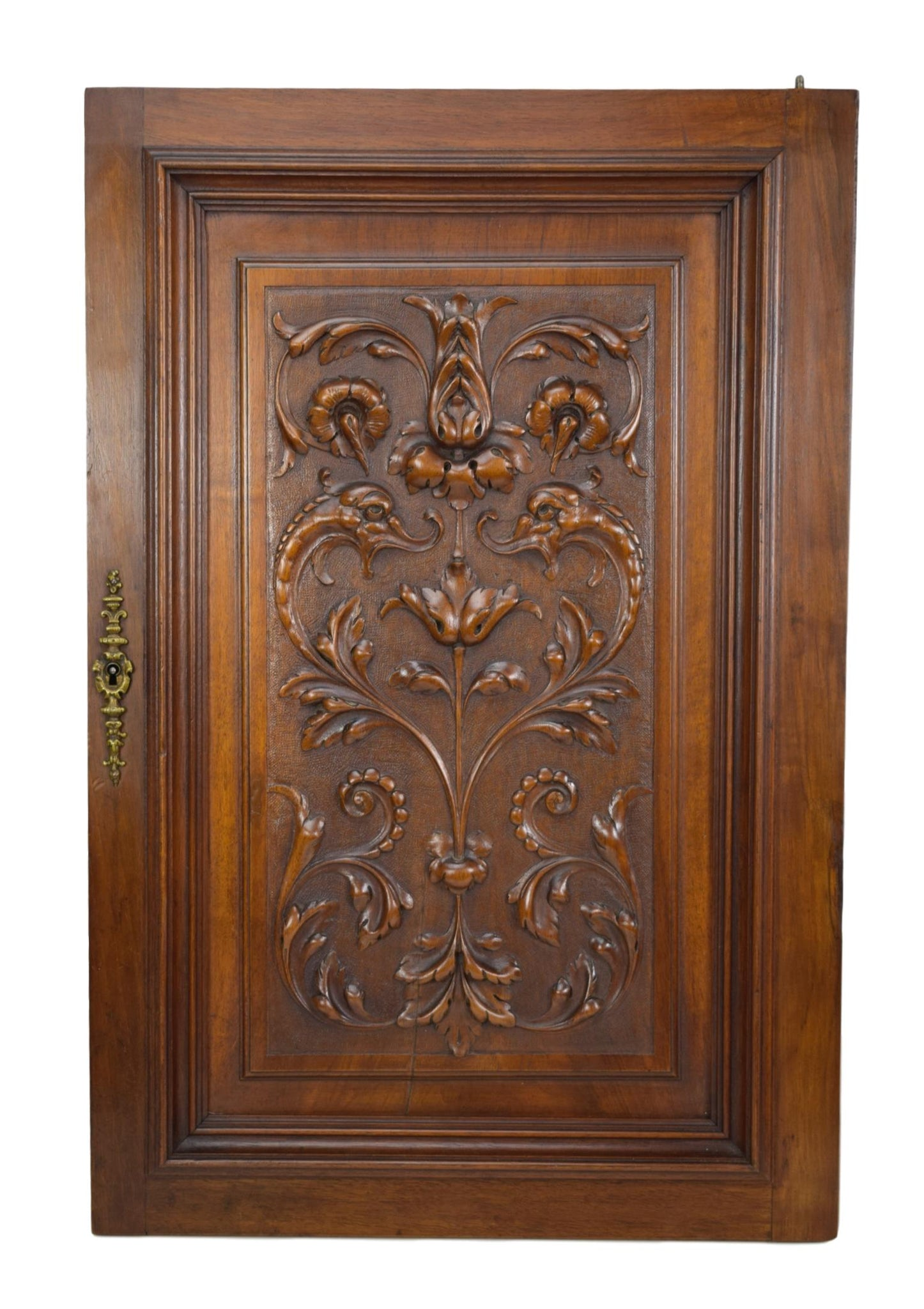 French Antique Neoclassical Carved Salvaged Wood Dolphin Door - Classicla Walnut Wood Wall Panel - Architectural Wood Salvage
