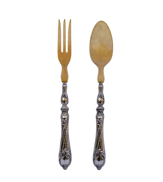 Ivory Salad Servers - Charmantiques