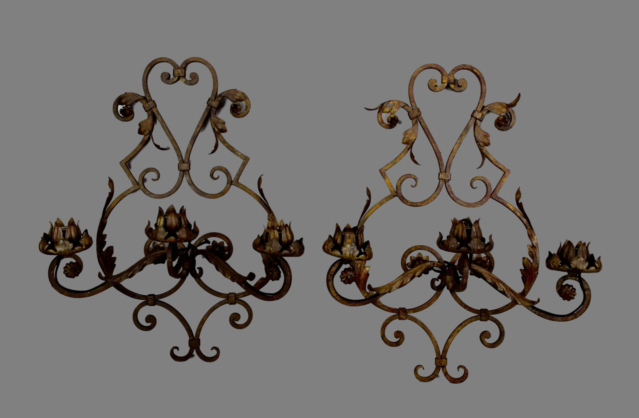 Wonderful French Handmade Wrought Iron Pair Of Wall Sconces