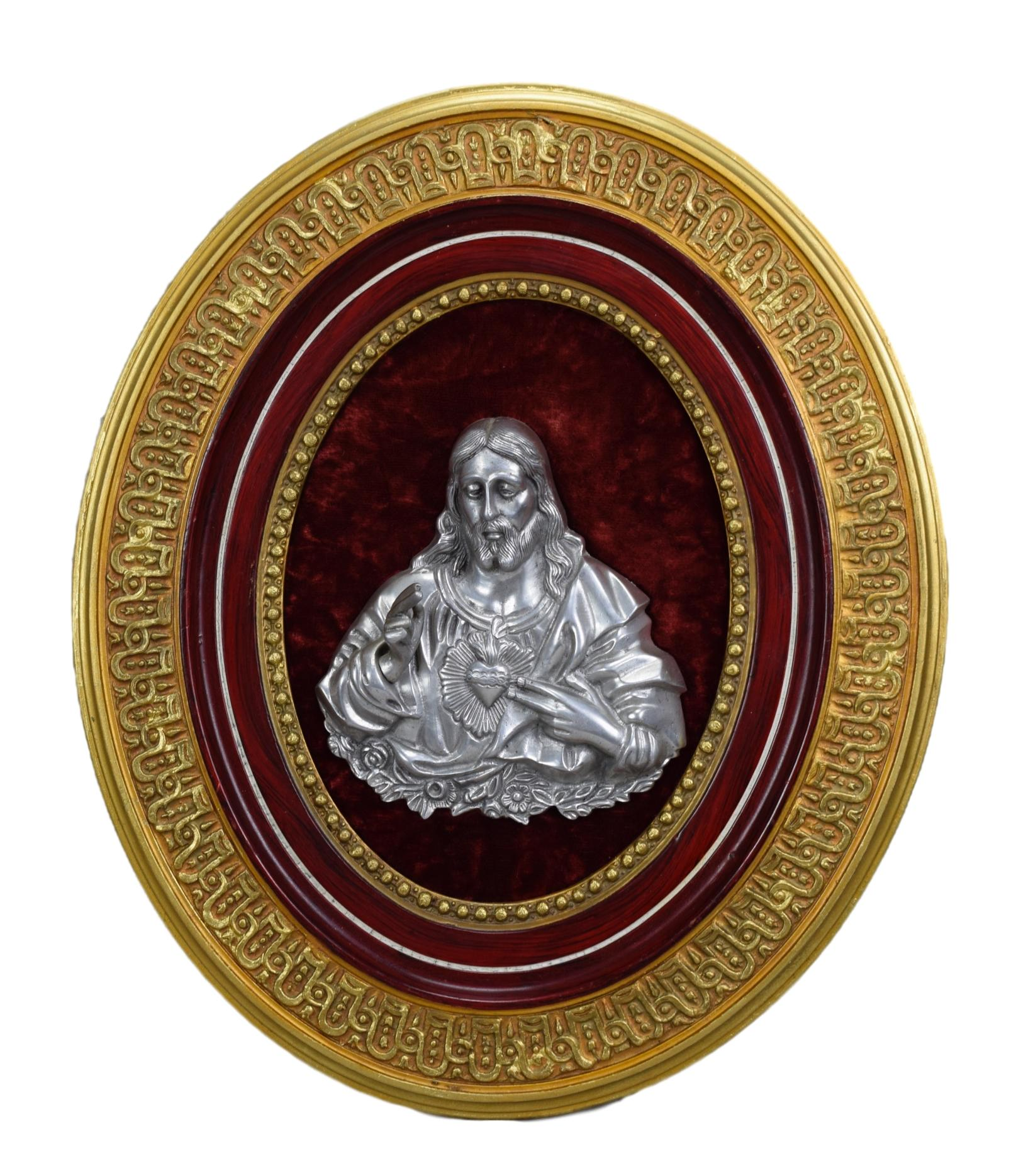 French Antique Large Religious Wall Frame - Catholic Jesus Christ Icon - Silver Icon - Holy Face of Jesus Sacred Heart