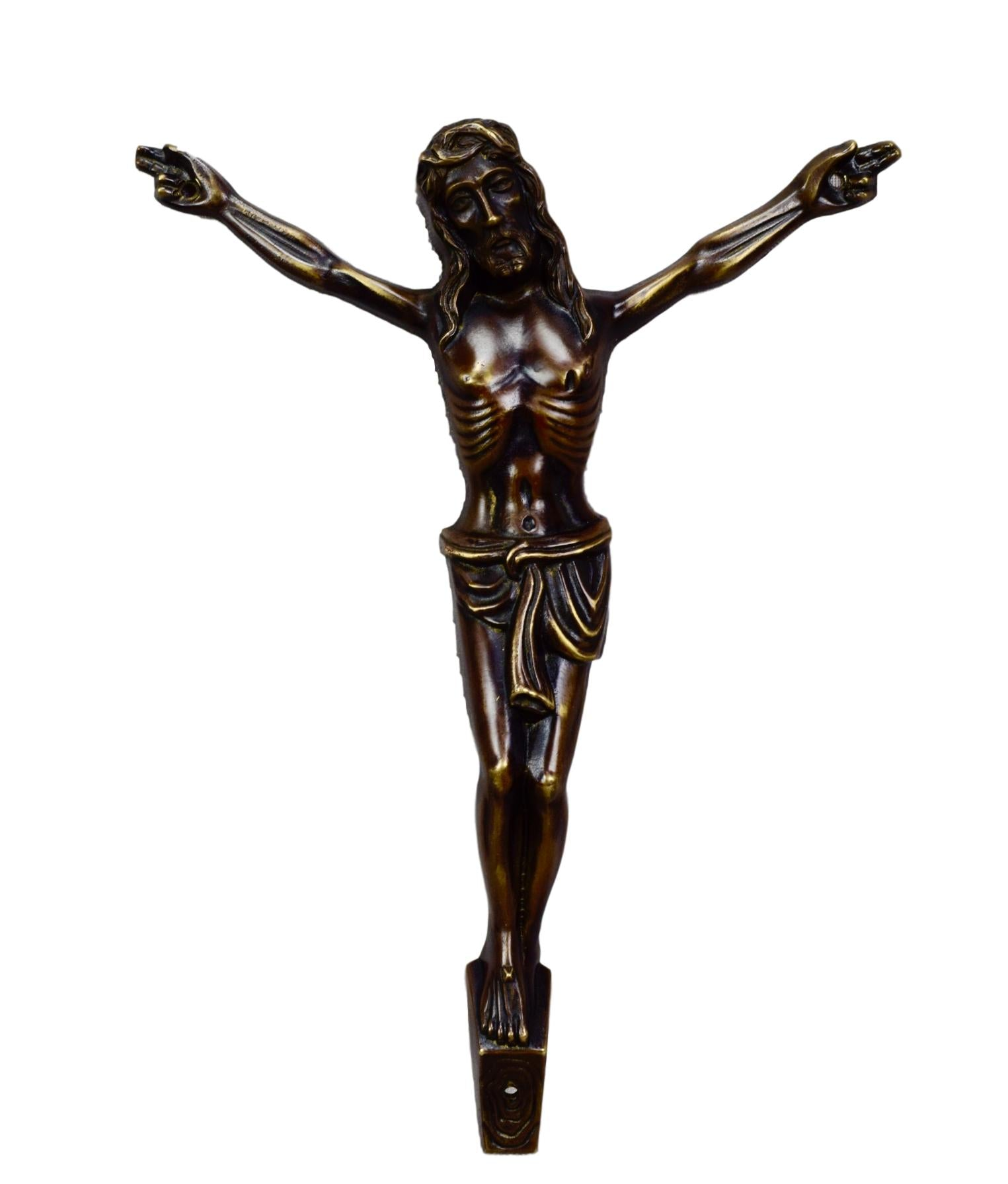 Modernist Bronze Crucifix - Charmantiques