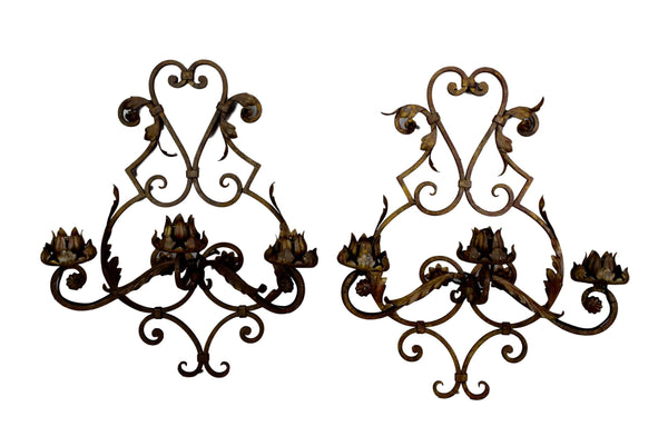 Wrought Iron Wall Sconces - Charmantiques