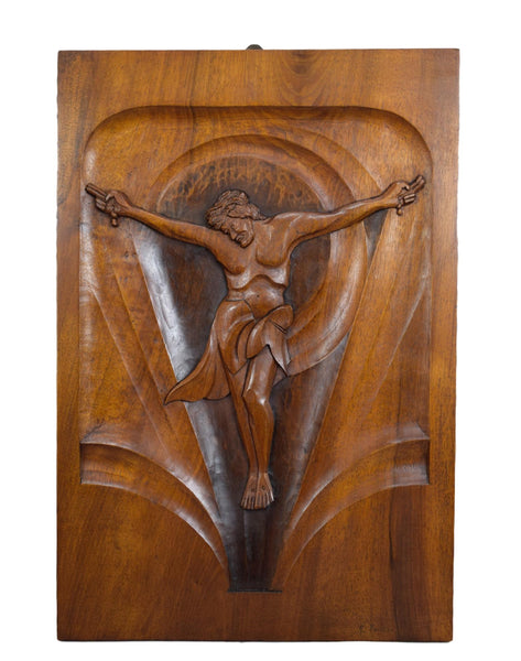 French Art Deco Religious Wall Panel Signed R Foirzon - Large Hand Carved Wood Crucifix - Modernist Catholic Art - Mid Century Wood Art