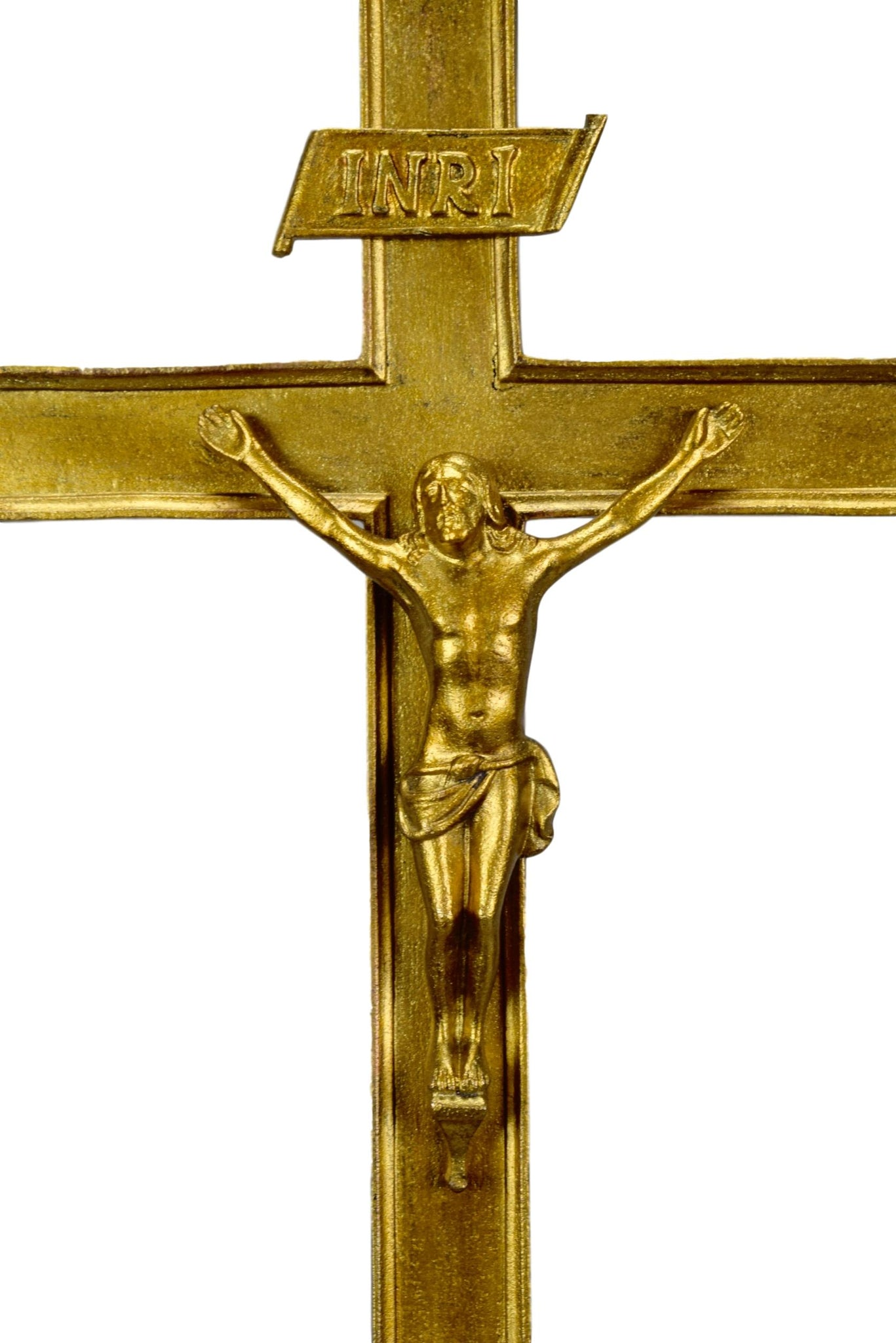 "French Antique Religious Large Bronze Crucifix - French Catholic Standing Cross - Ormolu Bronze Crucifix - 22"" High Altar Cross"