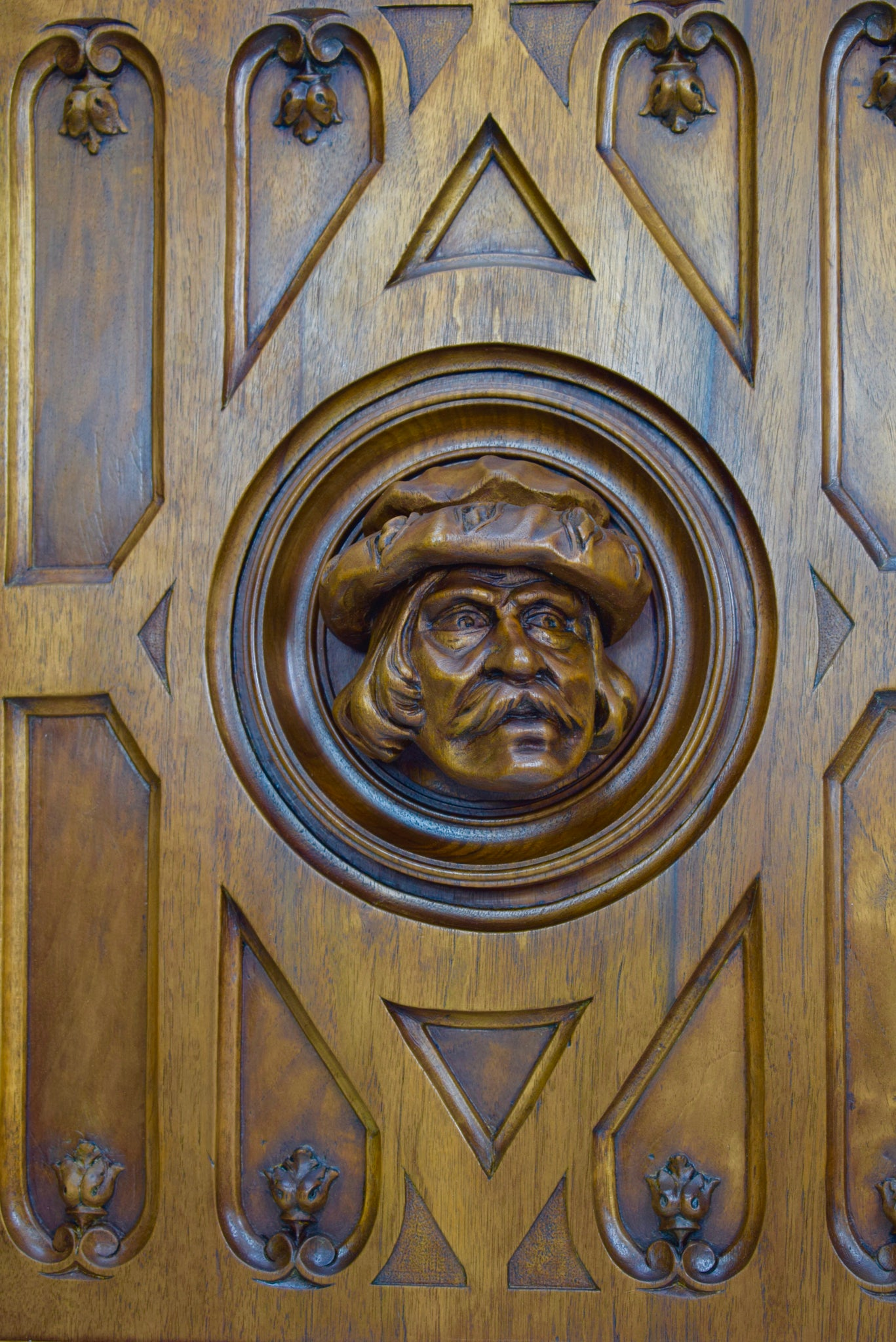 French Antique Neo Gothic Hand Carved Wood Wall Panel - Man Face Paneling - 19th Victorian Wall Carving