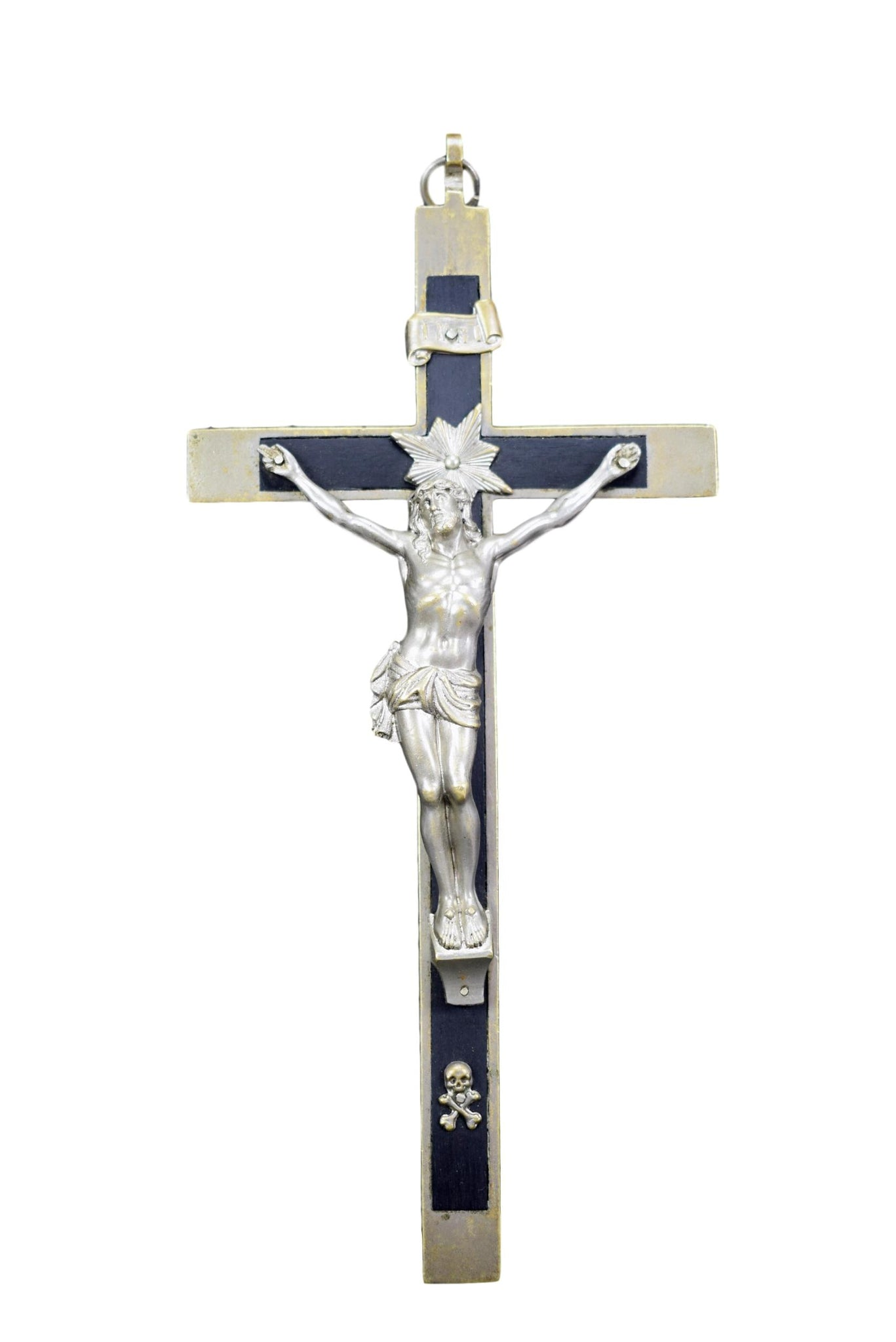 Nickeled Bronze Crucifix - Charmantiques