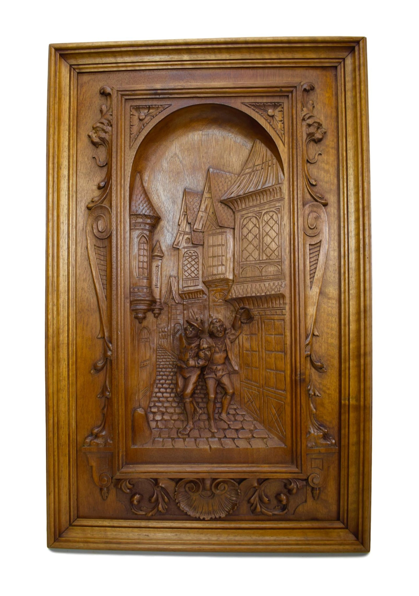 Fabulous French Antique Hand Carved Wood Wall Panel - Paneling Middle Ages - 19th Victorian Wall Carving