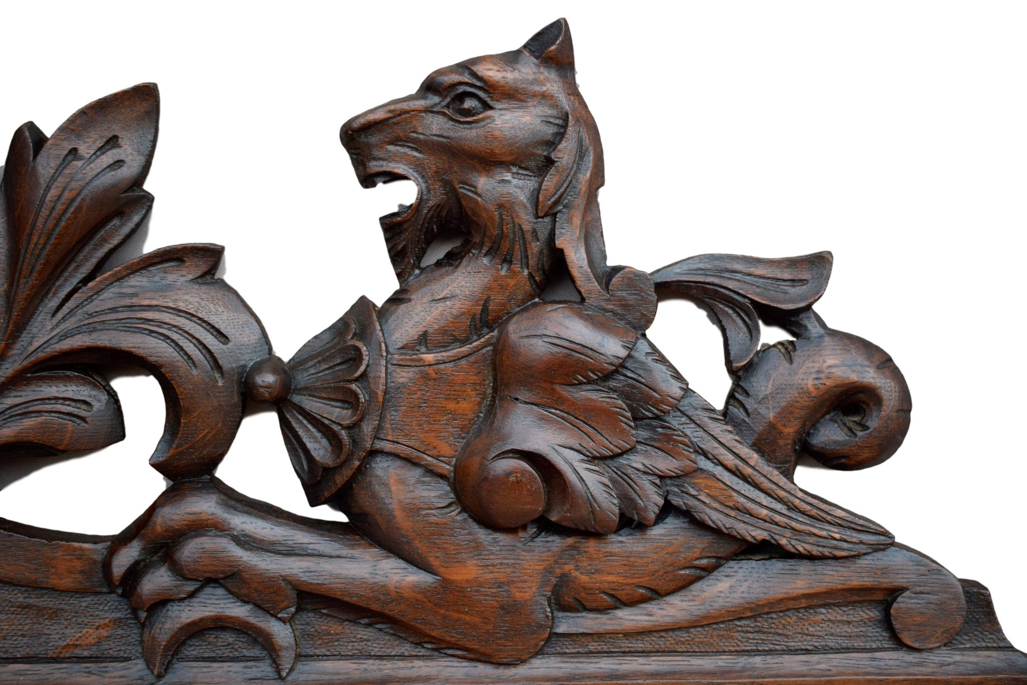 French Antique Black Forest Large Hand Carved Pediment - Stag Griffin - Architectural Cornice Door Furniture Top - Hunt Theme Wall Plaque