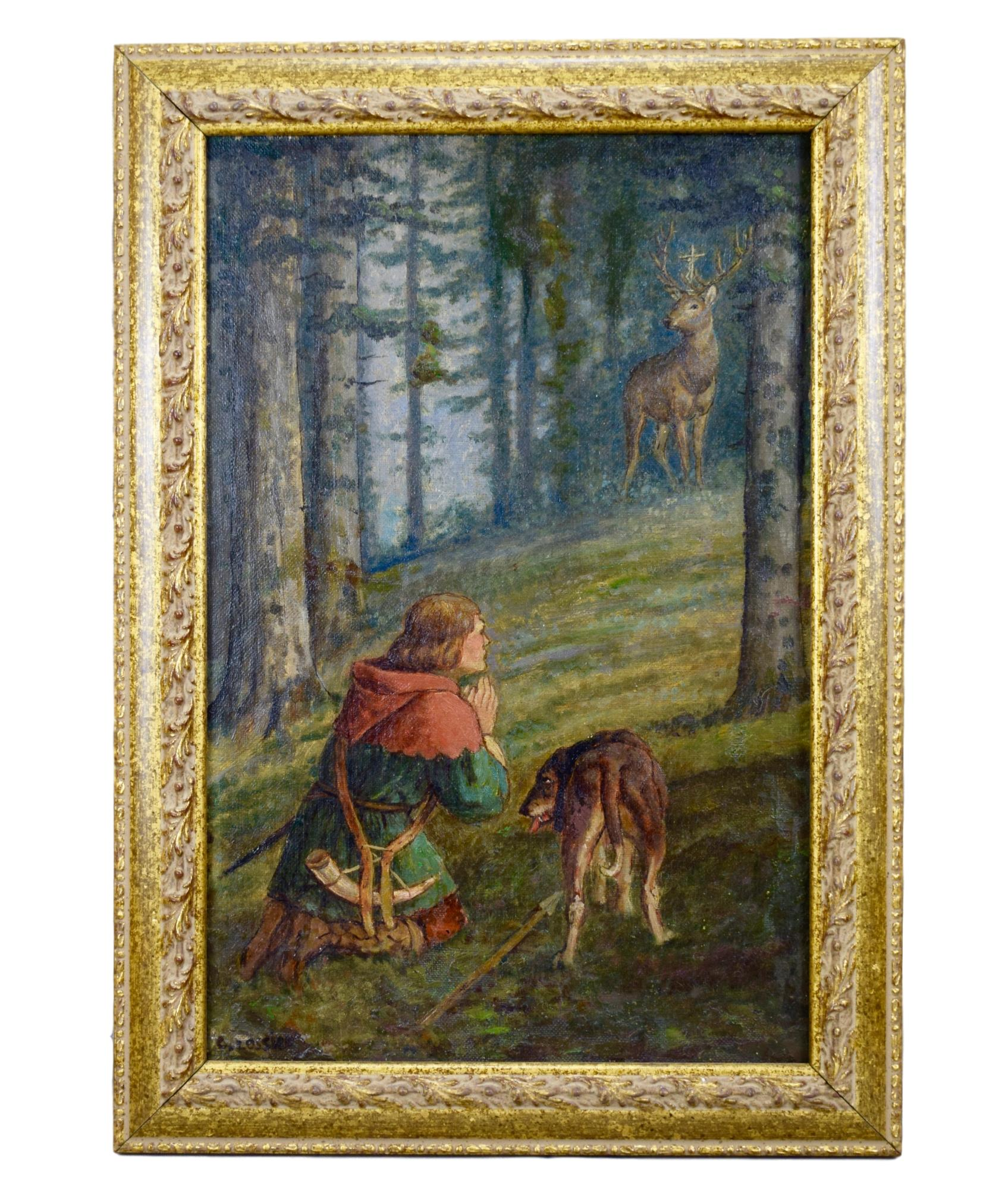 Saint Hubert Painting by Lossier - Charmantiques