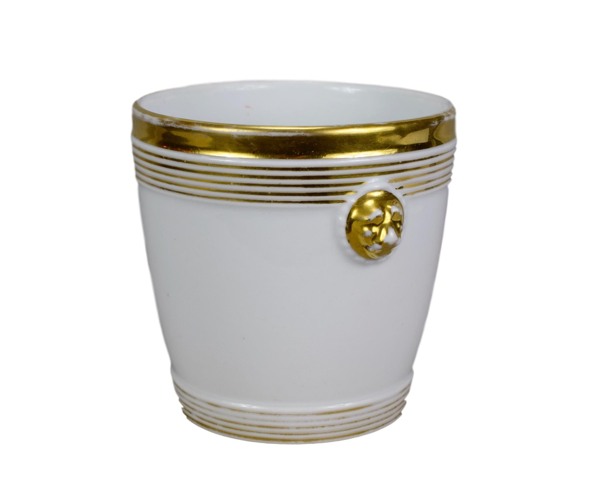 19th.C Old Paris Porcelain Cache Pot - Stunning French Gold & White China Planter - Antique Classical Cache Pot