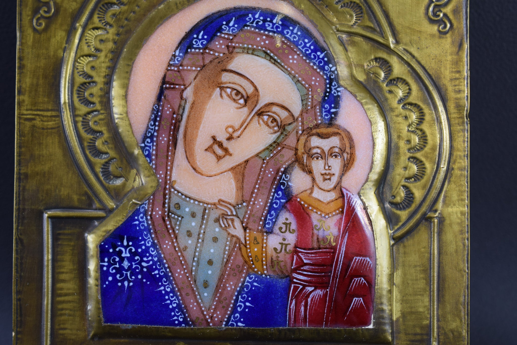 Vintage Old Byzantine Orthodox Madonna & Jesus Child Icon of Russian Icon Copy