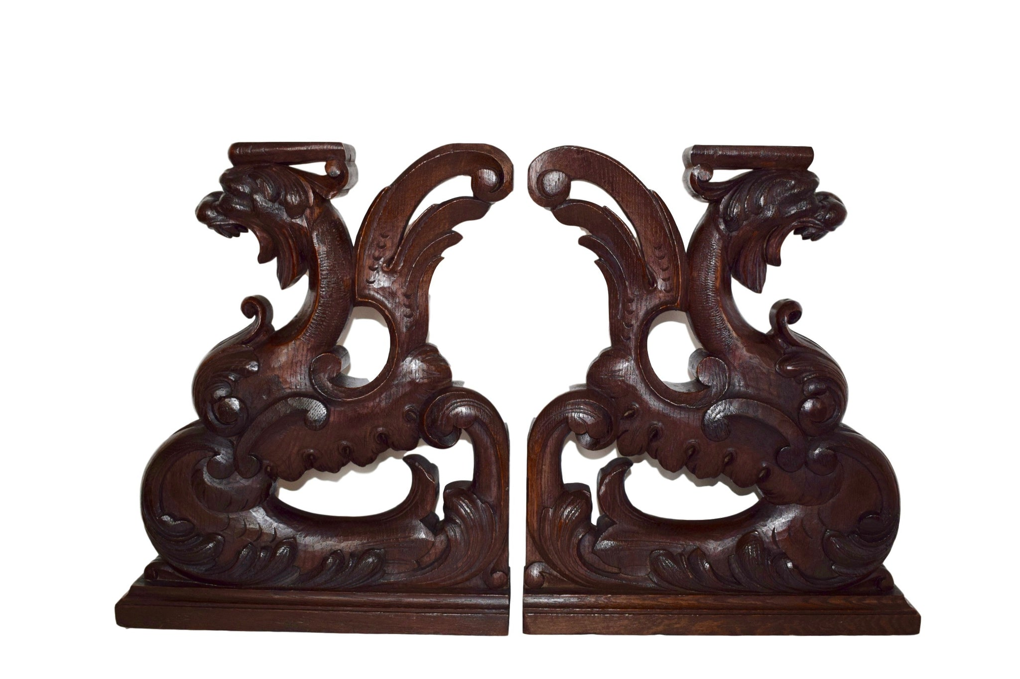Pair of French Hand Carved Wood Griffins Cabinet Supports - Charmantiques