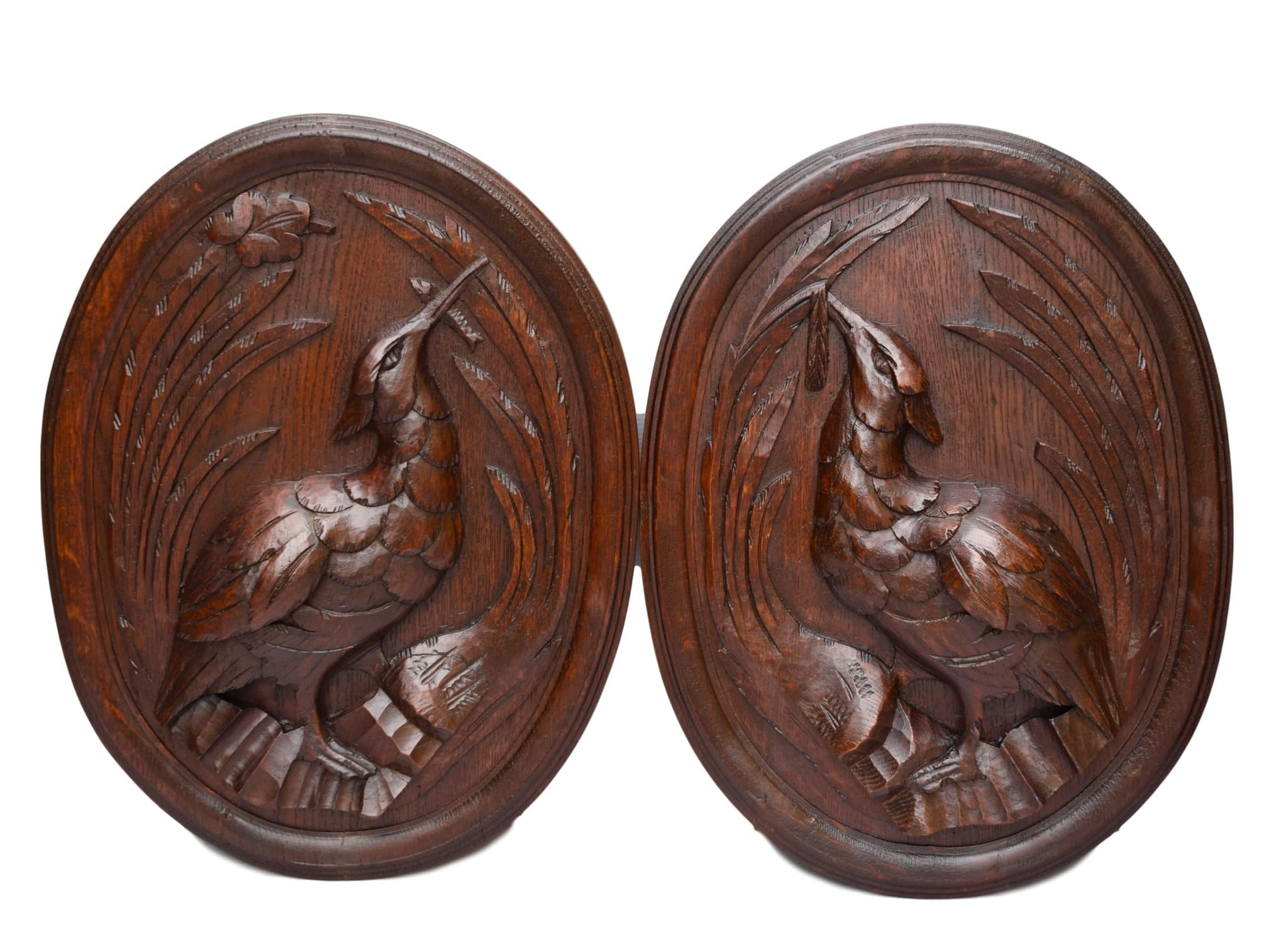 Pair of Black Forest Carved Wood Game Bird Panel