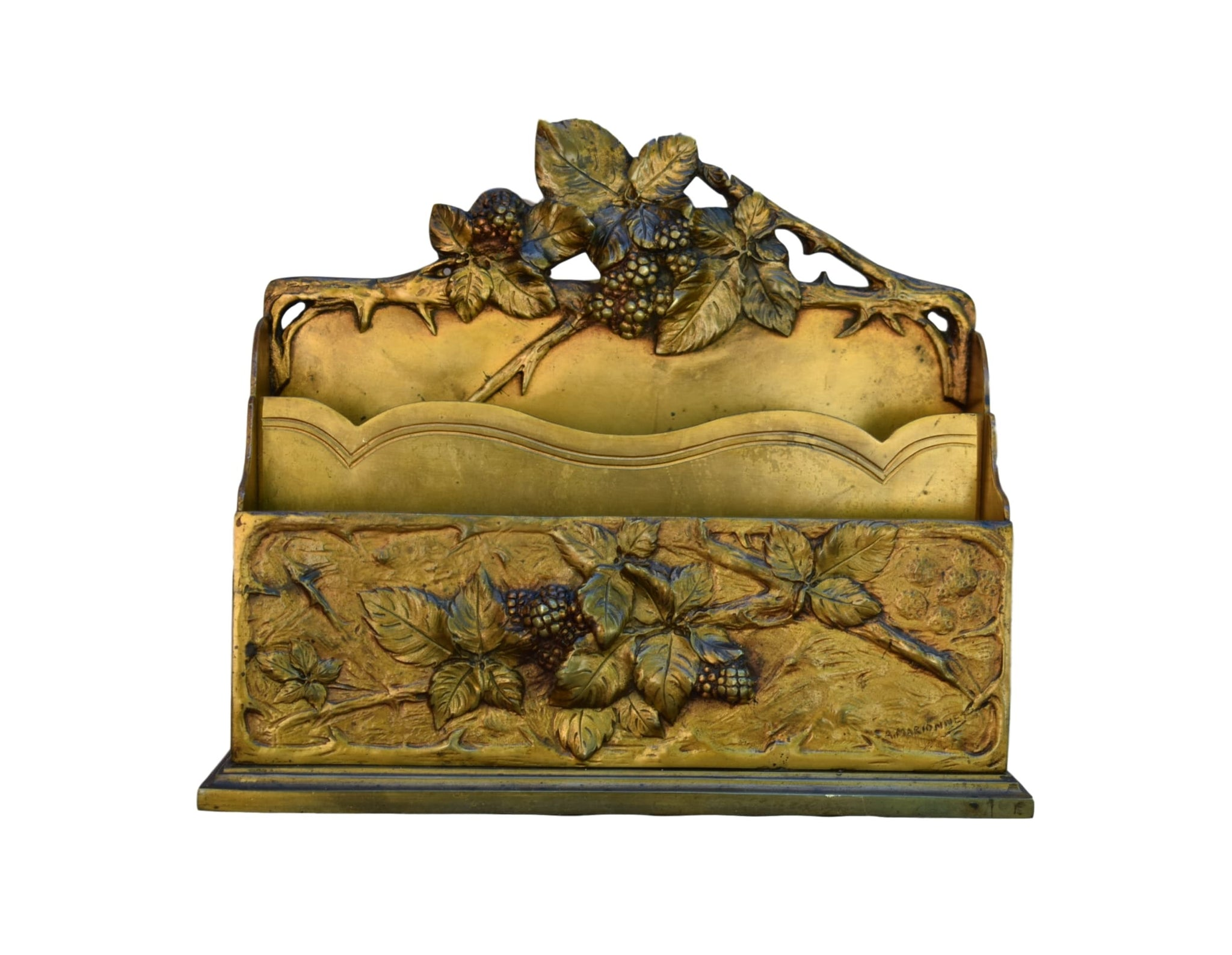 French Rare Art Nouveau Bronze Letter Holder by Albert Marionnet - Charmantiques