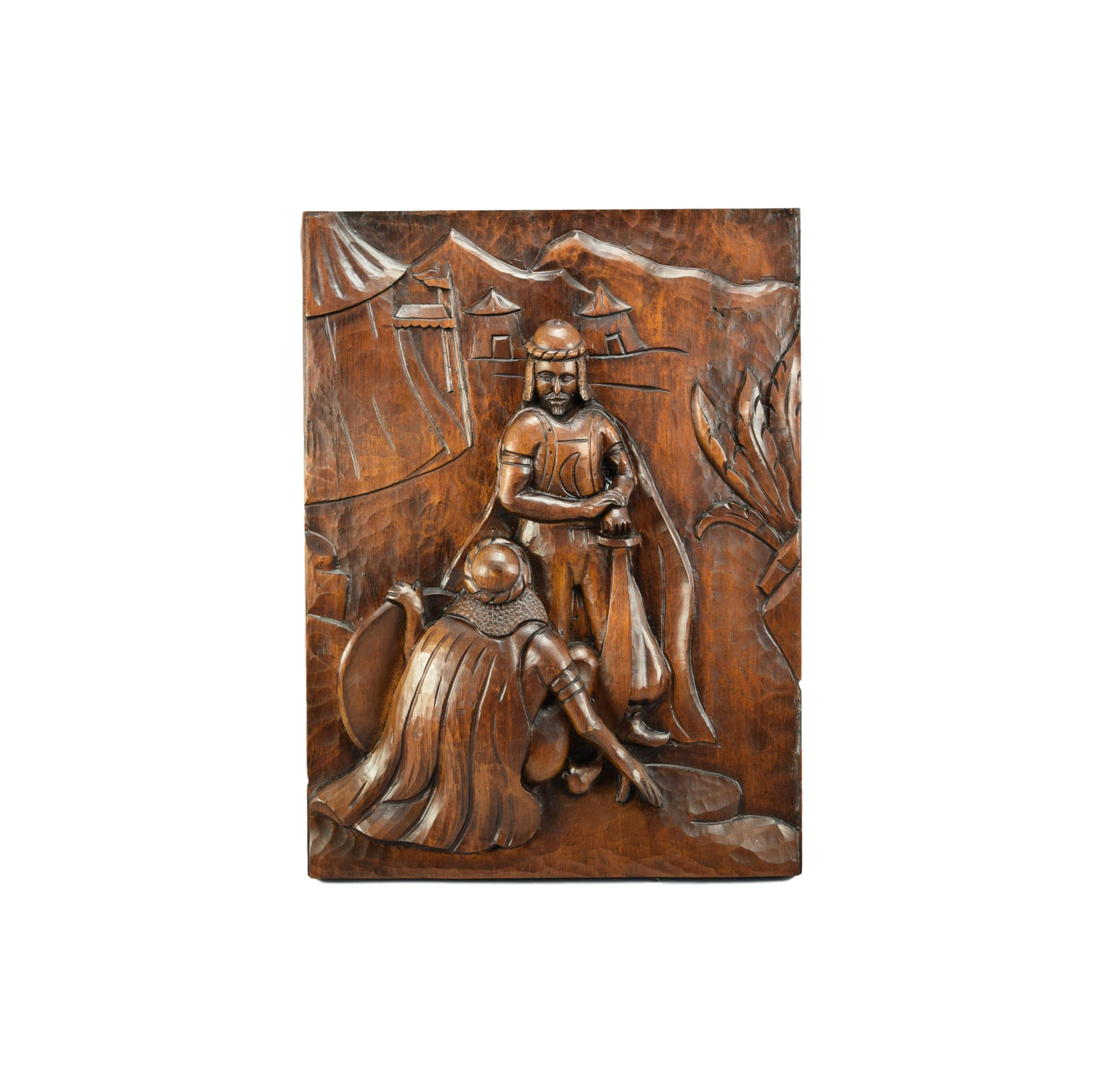 French Large Thick Black Forest Gothic Carved Wood Wall Panel Door of Middle Ages Moors Armor Knight with Sword