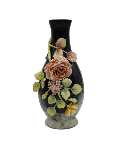 Longchamp Majolica Applied Rose Impressionist Vase