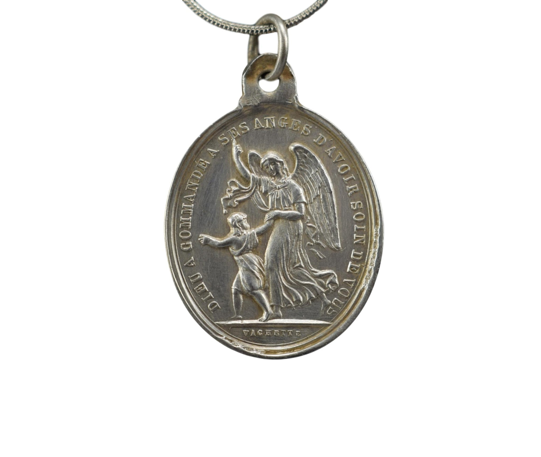 Vachette Large Sterling Silver Guardian Angel & Mary and Jesus Sacred Hearts Medal Pendant Necklace