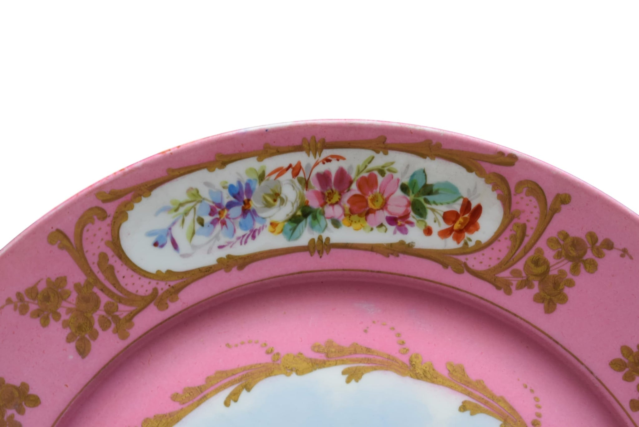 French Antique Hand Painted Pink Sevres Porcelain Cupid Plate - Charmantiques