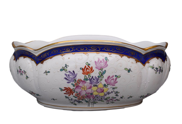 French Antique Paris Samson Porcelain Jardiniere - Chinese Famille Rose Style Decor Centerpiece - Hand Painted China Cache Pot