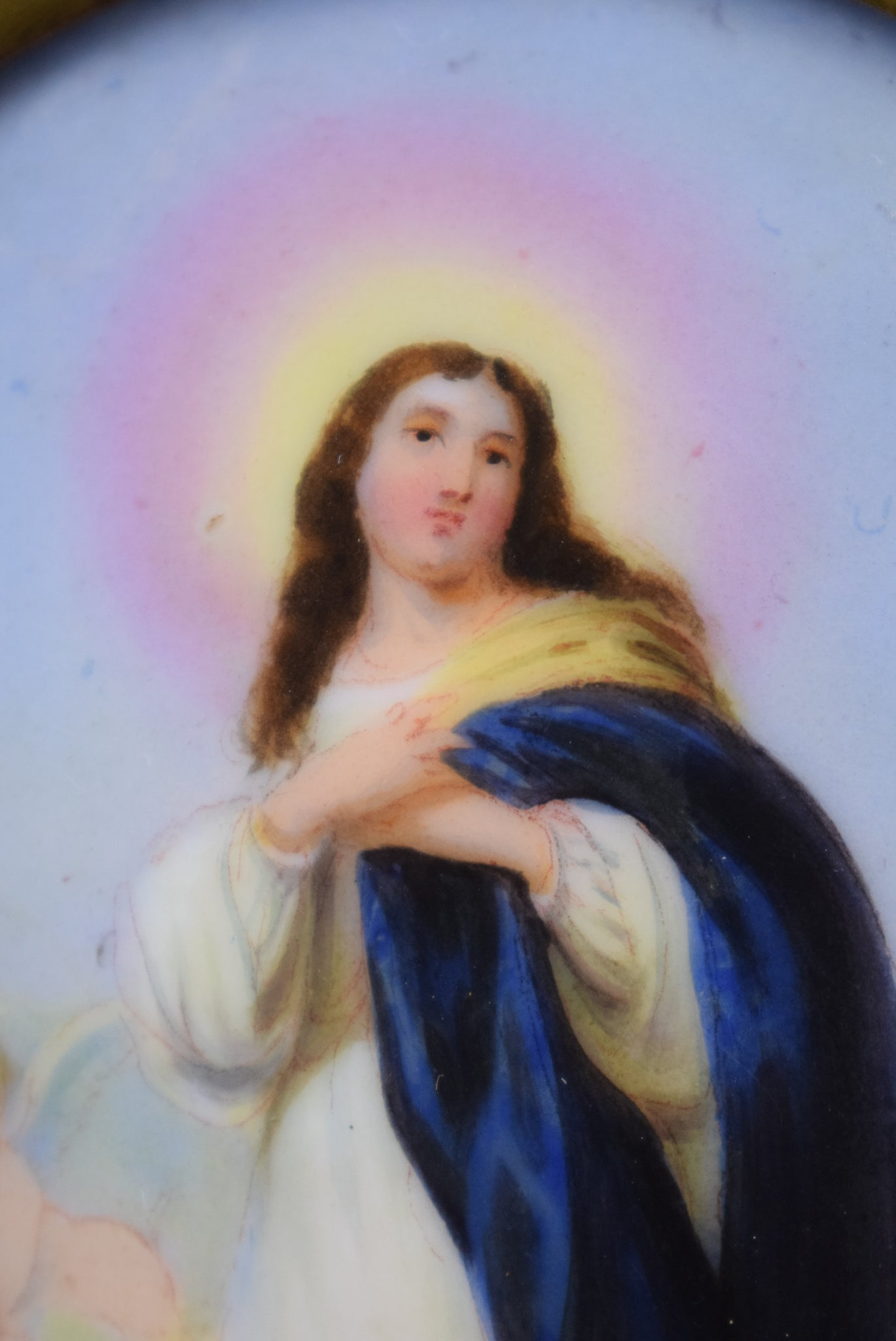 Our Lady Virgin Mary Assumption Angels After Esteban Murillo Porcelain Brass Wall Frame Reliquary