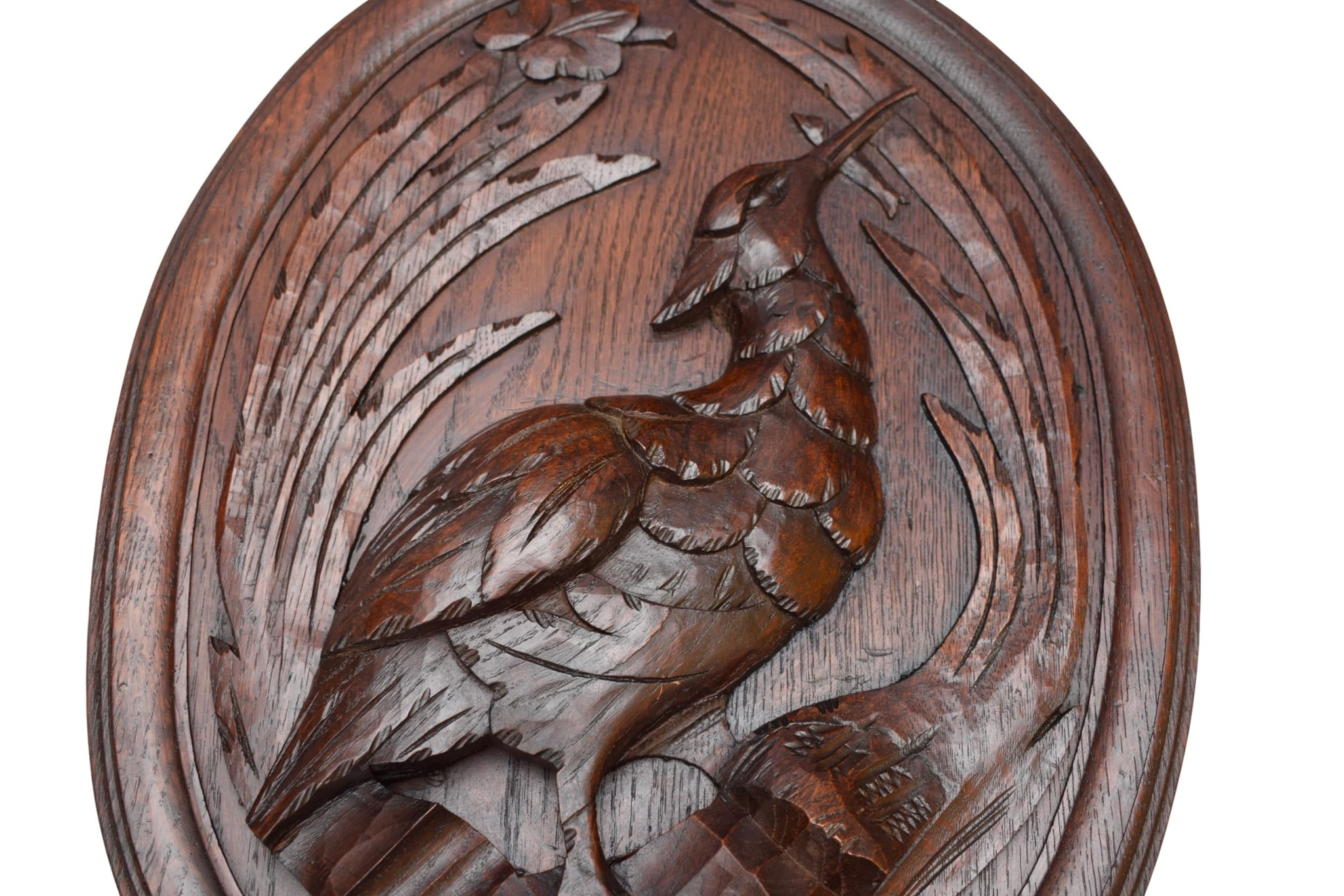Pair of Black Forest Carved Wood Game Bird Panel - Charmantiques