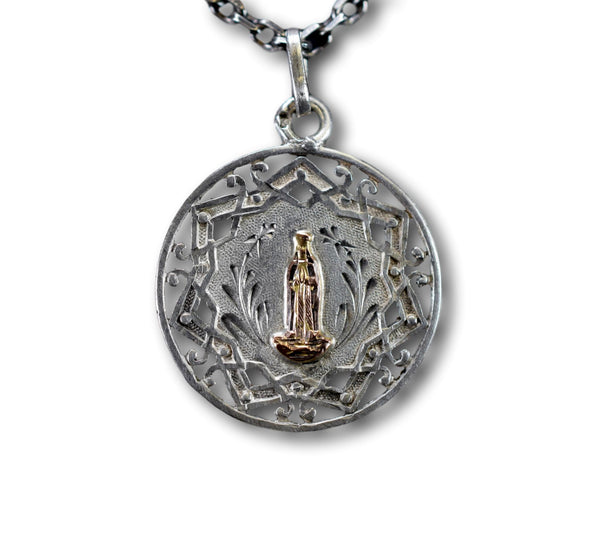 Our Lady Of Lourdes Sterling Silver & Gold Medal French Antique Openwork Pendant