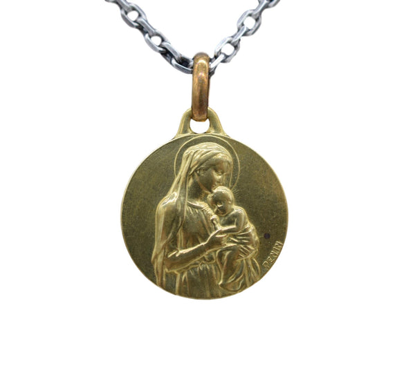 Gold Madonna and Child Medal Pendant by Penin