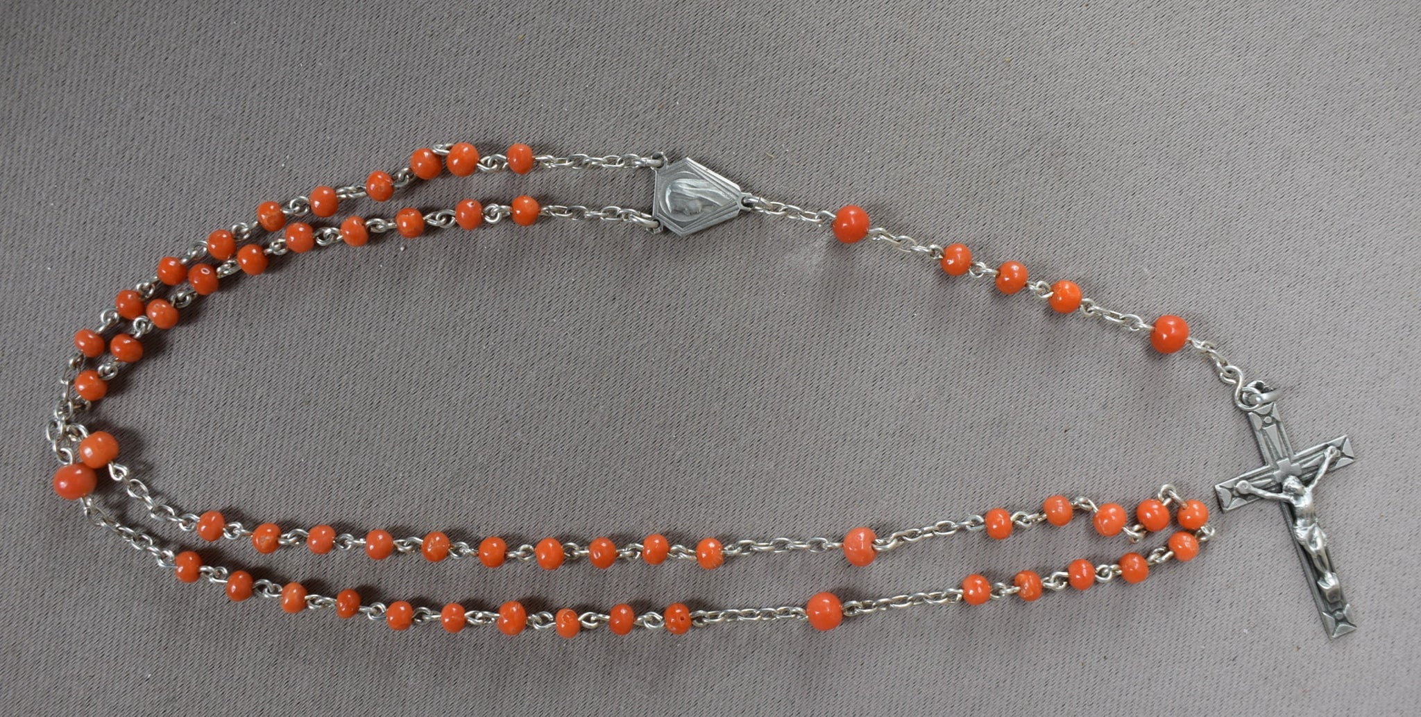 Art Deco Silver & Coral Rosary - Charmantiques
