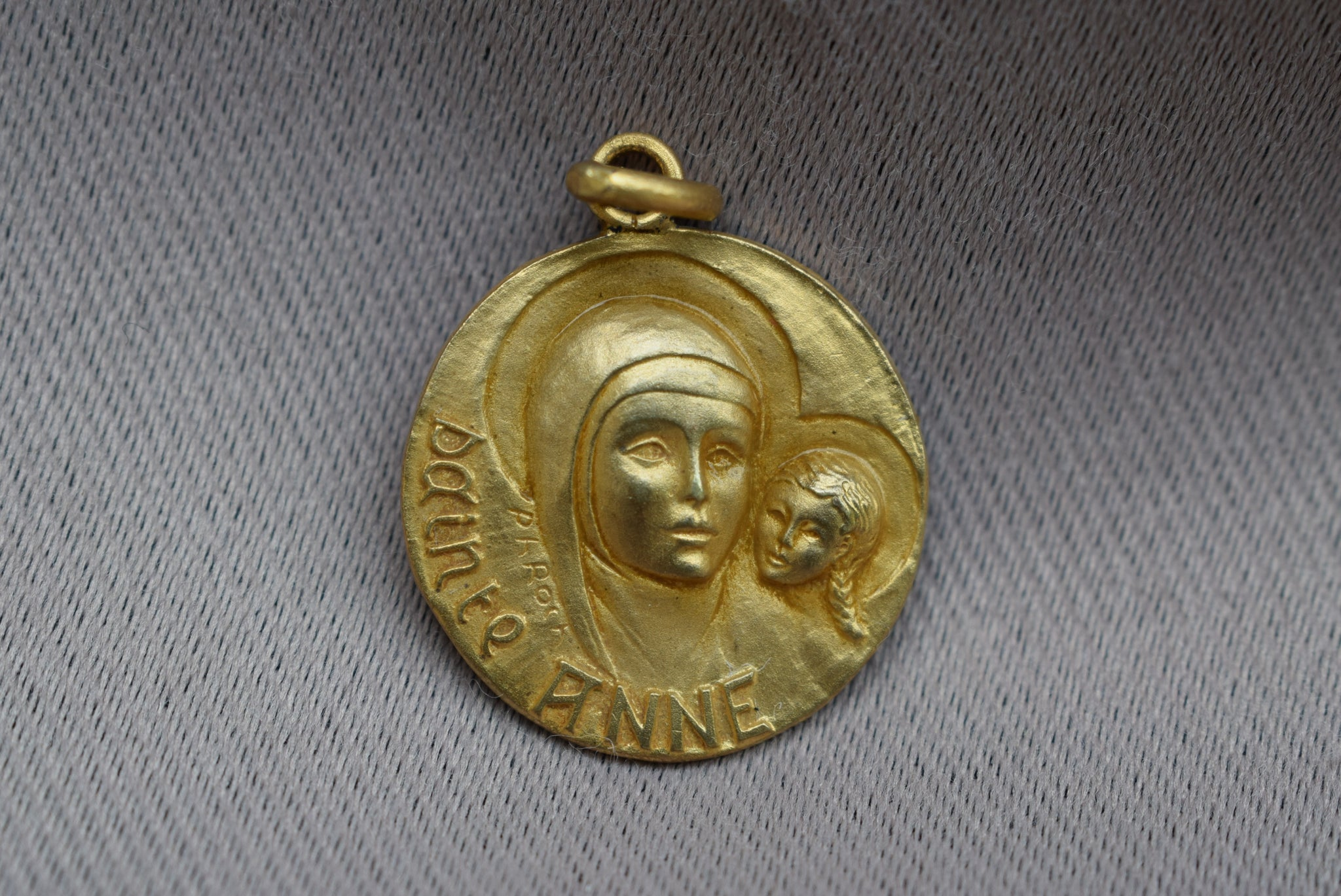 5605b9d0528 Saint Ann Medal - French Religious Vintage Gold Medal Pendant Charm by Jean  Philippe Roch -