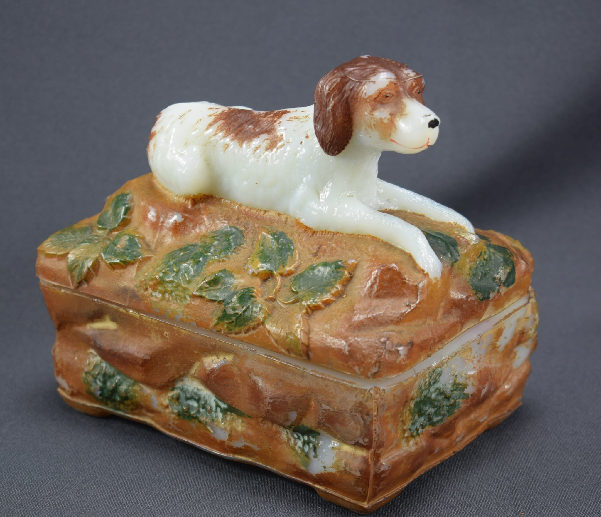 Vallerysthal Opaline Hunting Dog Jewelry Box Antique French Hand Painted Milk Glass Opaline Candy Box with Dog