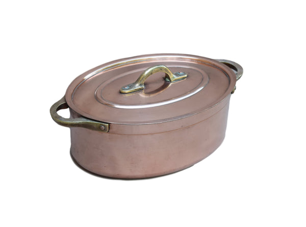 French Vintage 2mm Copper Oval Lidded Pot Cocotte - Charmantiques