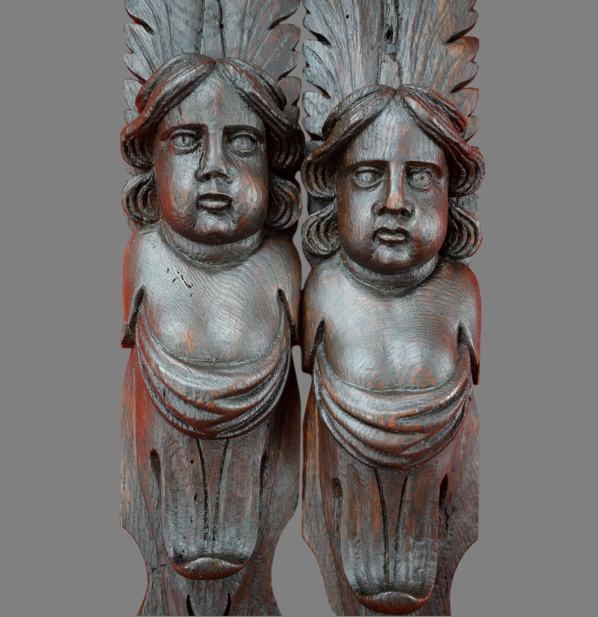 17th Century Pair of French Antique Oak Figures Support Trim Posts Pillars of Angels Caryatid