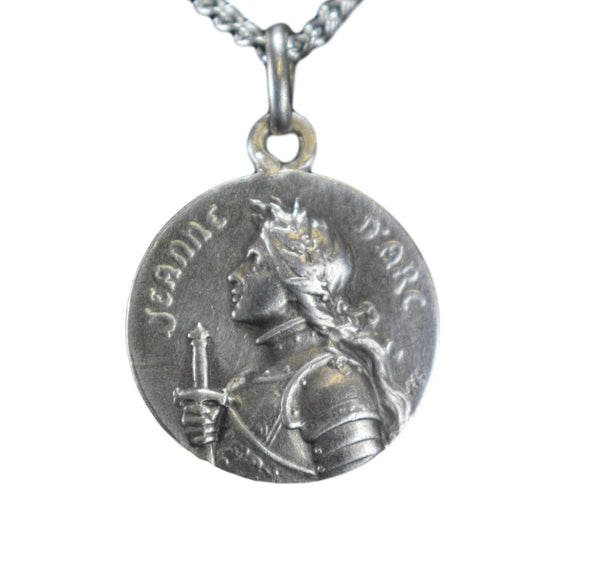 Sterling Silver Saint Joan of Arc Medal French Saint Patron of France Pendant