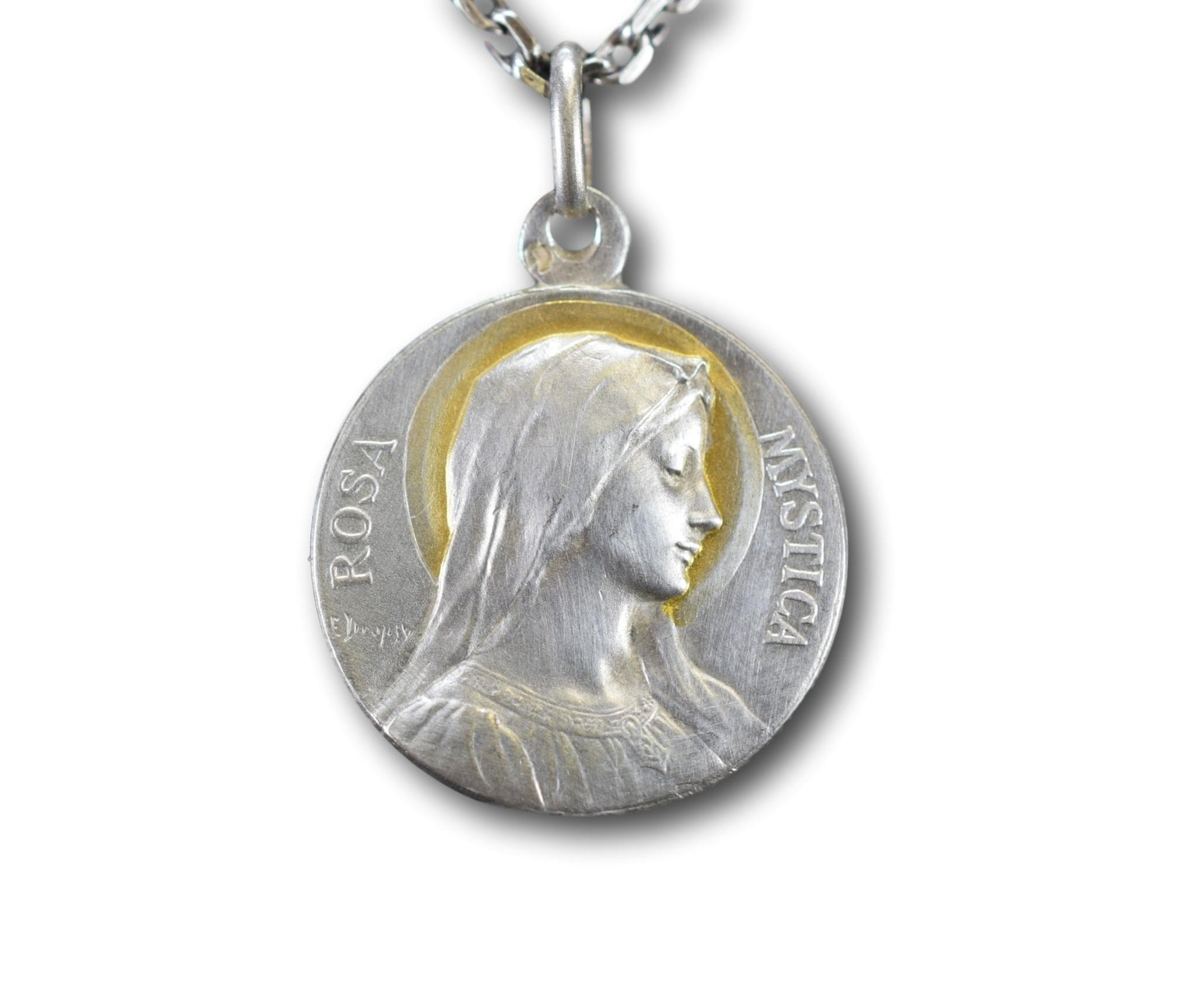French Art Nouveau Sterling Silver Mary Medal by Emile Dropsy Rosa Mystica
