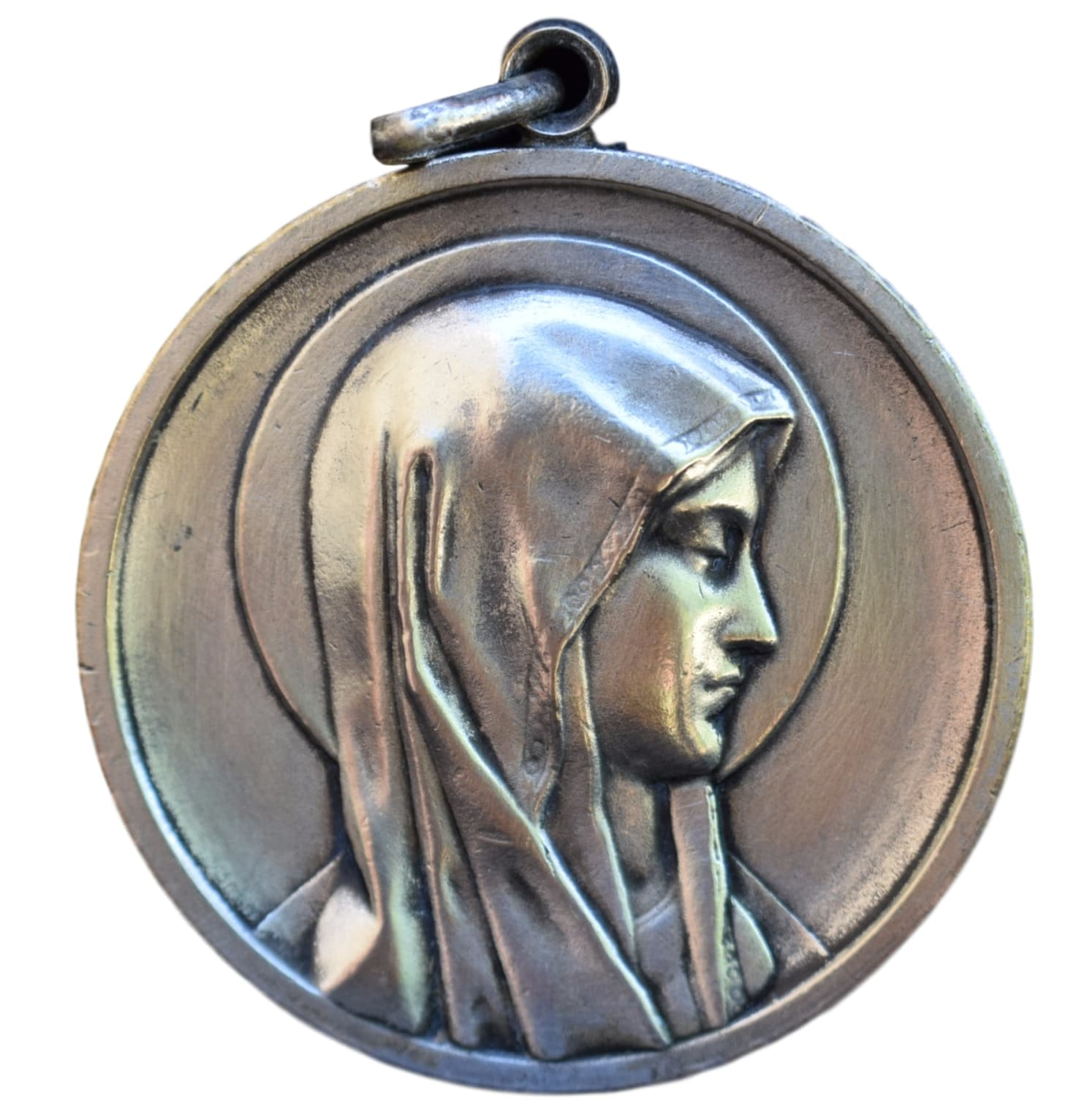 Large Lourdes Our Lady Mary Medal - French Vintage Large Religious Medal Medallion Pendant - Christian Medal - Communion Gift