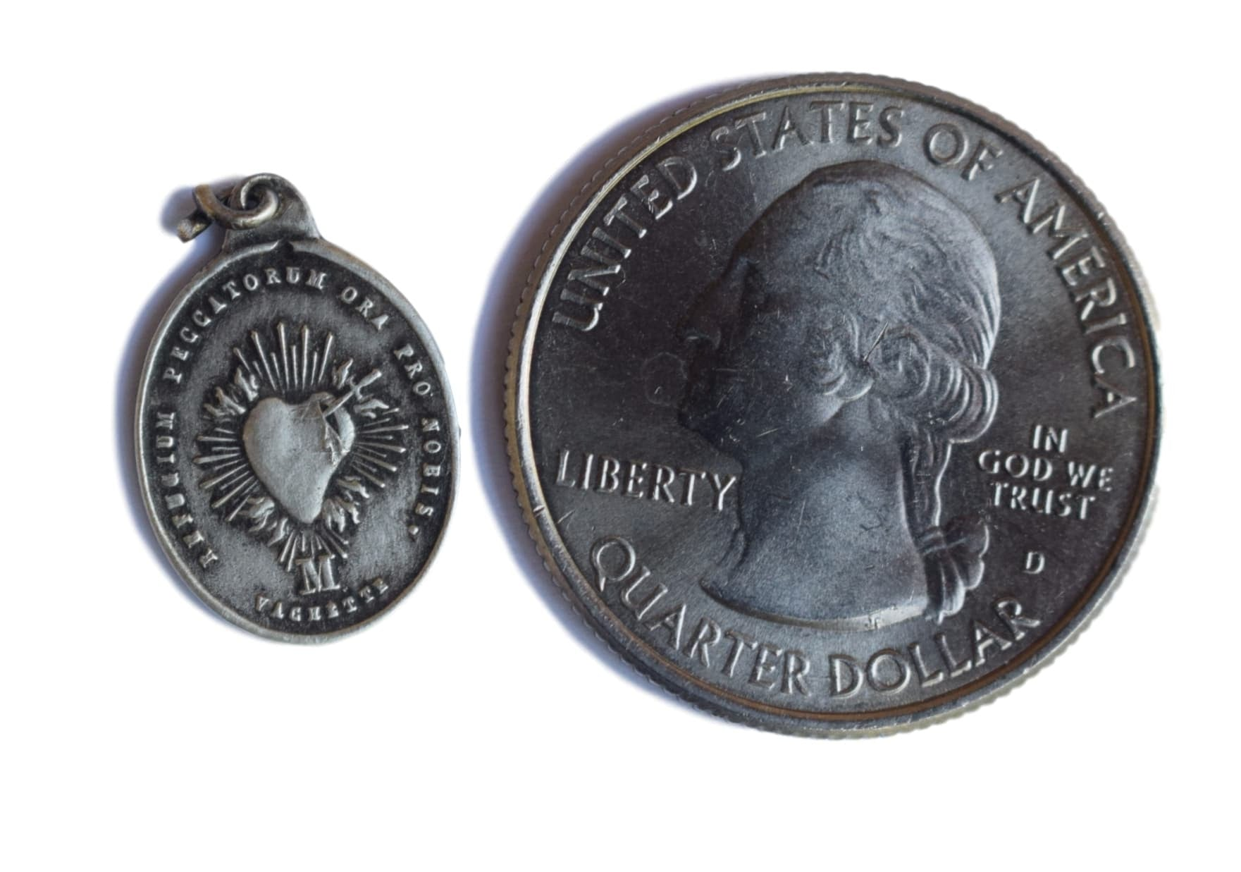French Sterling Silver Sacred Heart and Our Lady of Boulogne Medal by Vachette - Charmantiques