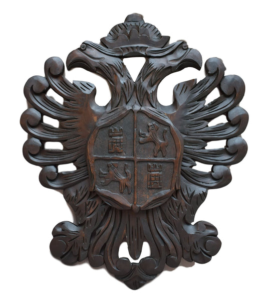 French Vintage Very Large Carved Wood Coat of Arms - Crowned Eagle Wall Shield - Lion Chateau Interior Design Decor - Wooden Panel