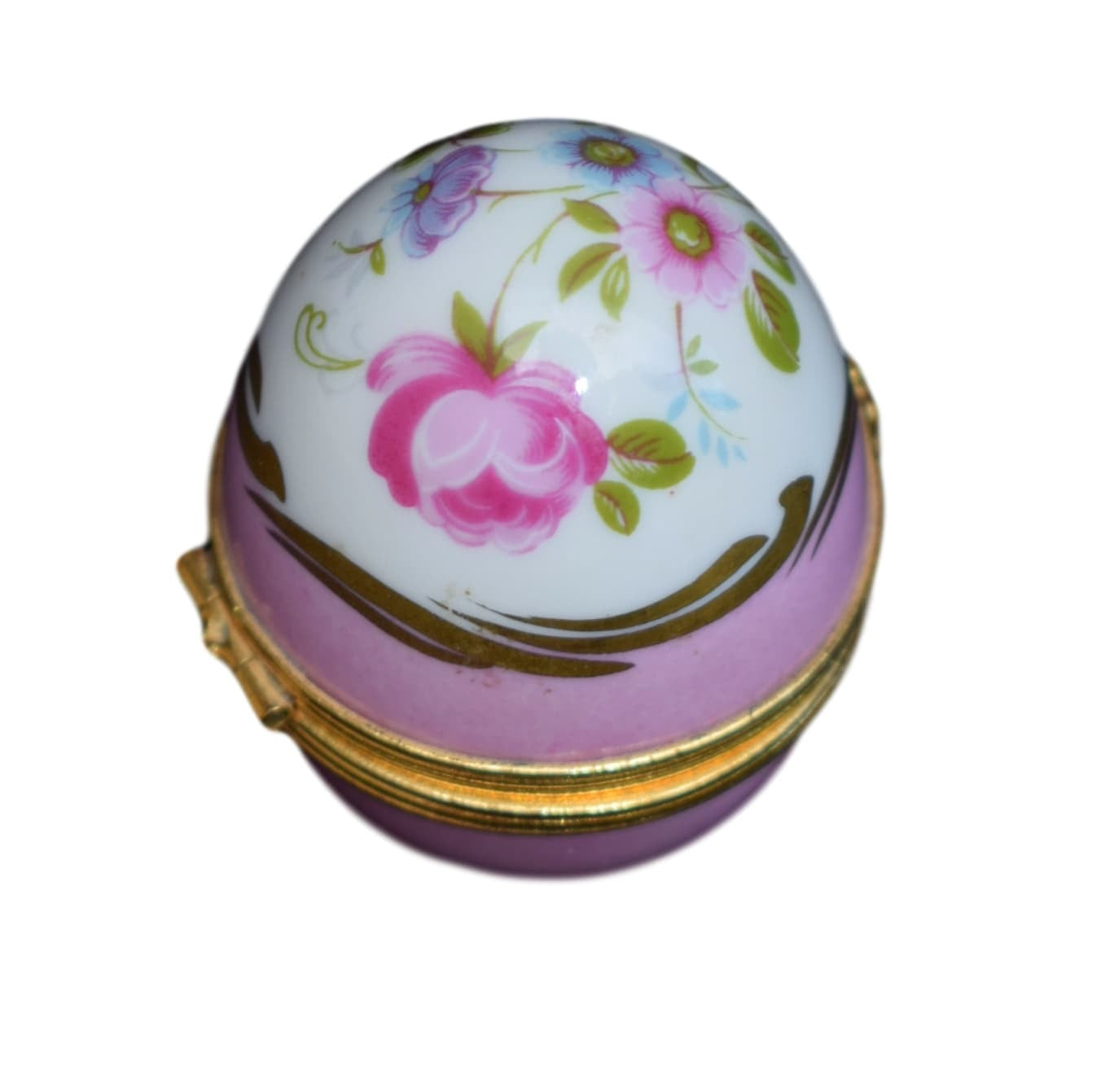 French Vintage Hand Painted Limoges Porcelain Egg Pill Box - Charmantiques
