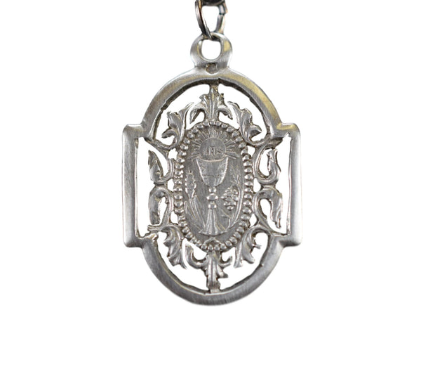 Antique French Communion Medal Chalice Pendant