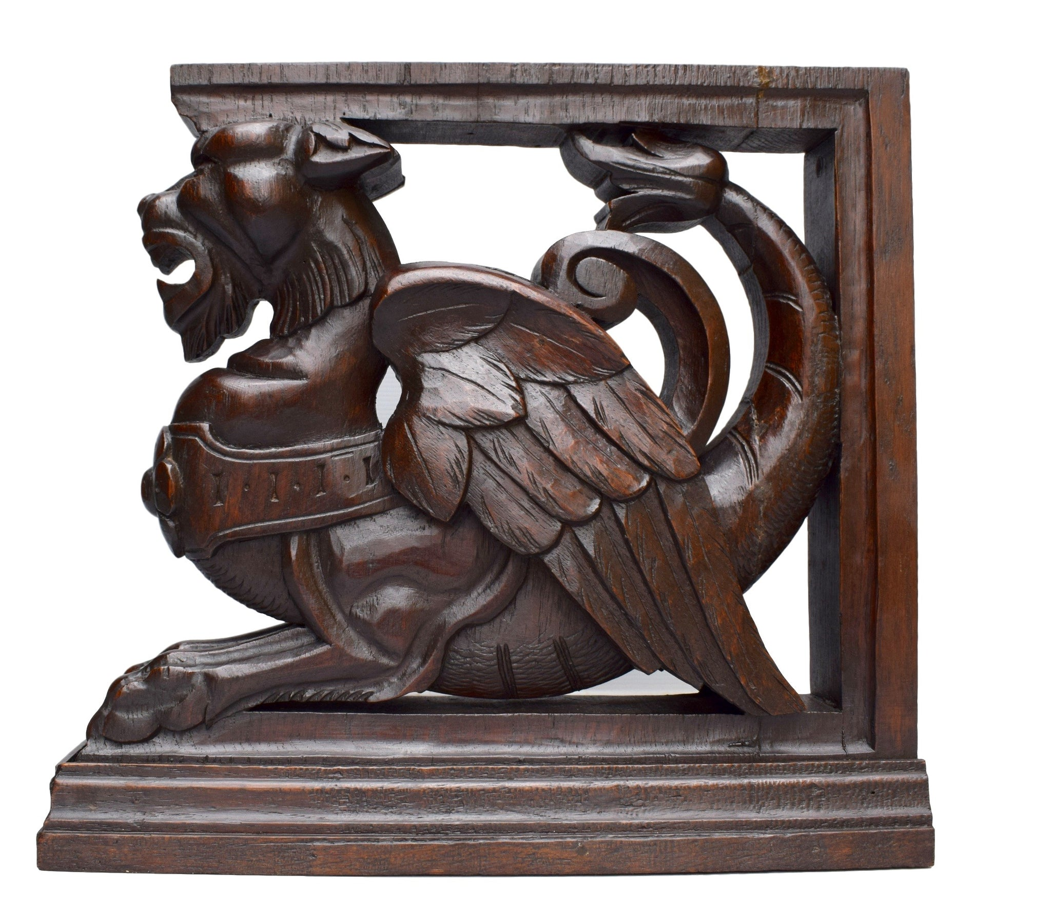 French Antique Hand Carved Oak Wood Griffin Furniture Support - Charmantiques