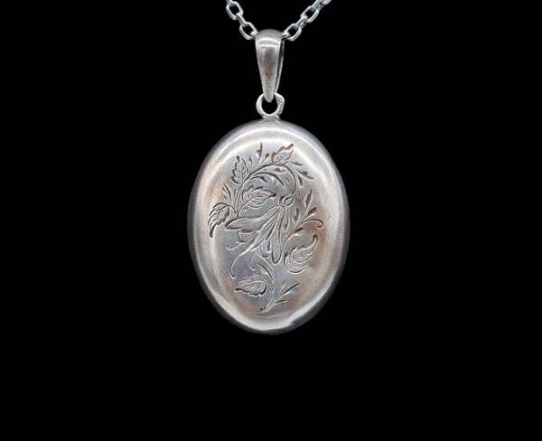 Antique French Engraved Sterling Silver Locket