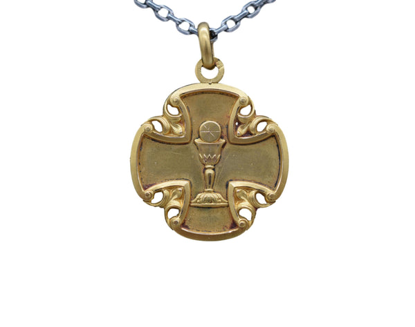 Gold Fix Chalice Communion Medal Pendant Charm 1921