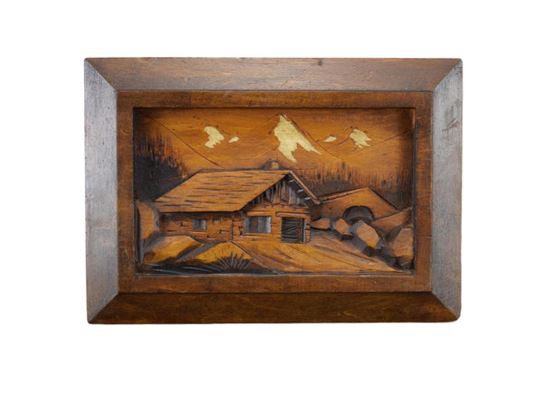 Vintage French Hand Carved Wood Mountain Wall Art Panel Sculpture by W.Rosso for a Ski Chalet Cabin Decoration Design