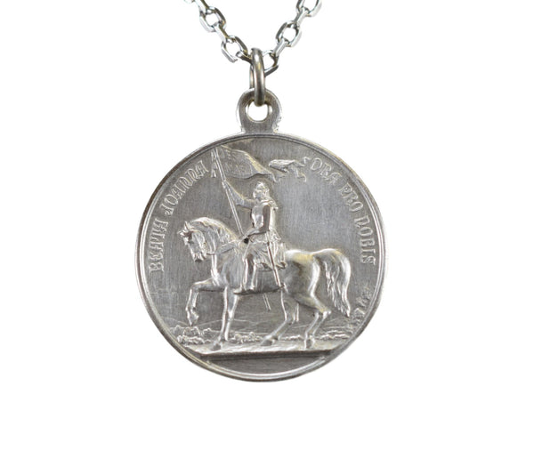 Saint Joan of Arc Riding Horse Medal Pope X Pendant